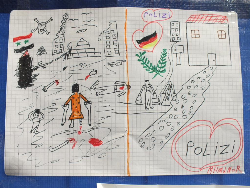 Not in Sytien, Hilfe in Deutschland - Geschenk eines syrischen Kindes an die Bundespolizisten in Passau