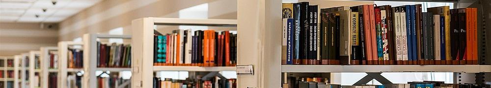 Regale in einer Bücherei, Bibliothek